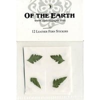 """Leather Fern 1.25"""" Real Pressed Flower Decorating Stickers - pack of 12 - Not Dyed"""