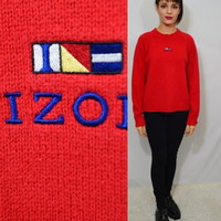 90s Embroidered Sweater Vintage MED Large Preppy Hipster IZOD Red Knit Jumper 1990s Womens Clothing Solid Simple LOGO Shirt