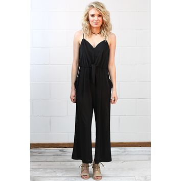 Easy Breezy Cropped Playsuit {Black} - Size LARGE