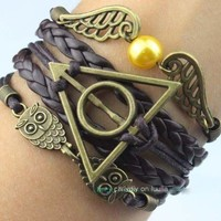 Ancient bronze owl with harry potter, the snitch charm bracelet, brown wax rope bracelet