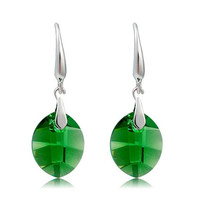 Women's 18K Gold Plated Zinc Alloy & Zircon Earrings (Green)
