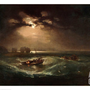 A First Rate Man-Of-War Driven onto a Reef of Rocks, Floundering in a Gale Giclee Print by George Philip Reinagle at Art.com