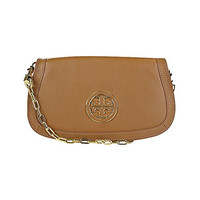 Tory Burch Amanda Logo Clutch Royal Tan