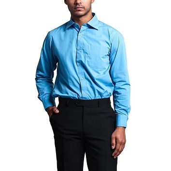 Regular Fit Long Sleeve Dress Shirt - Turquoise