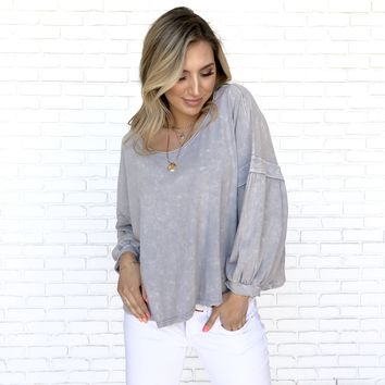Skies Are Grey Acid Wash Jersey Blouse