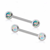 316L Surgical Steel Nipple Barbell with Press Fit Synthetic Opal