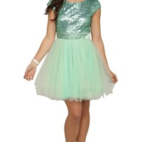 Short Prom Dress with Cap Sleeve Sequin Bodice and Ballerina Skirt