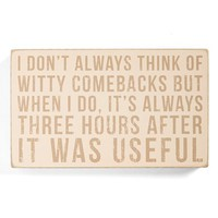 Primitives By Kathy 'Witty Comebacks' Box Sign