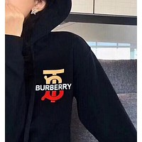 BURBERRY Autumn Winter Fashion Casual Print Hooded Sweater Sweatshirt Black