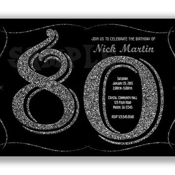 Silvery Glitter Adult Birthday Invitations - Woman Birthday Party - Man Party - Elegant Over the Hill - Surprise - Black Fancy - Adults