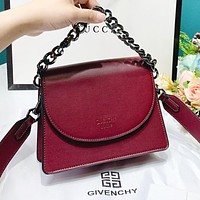 Givenchy Fashion New Solid Color Leather Shopping Leisure Chain Crossbody Bag Shoulder Bag Handbag Burgundy