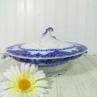 Antique Flow Blue China Covered Vegetable Bowl - Vintage Large Oval Footed Dish with Lid - Albany Pattern Johnson Bros. England Makers Mark