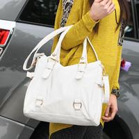 YESSTYLE: SO Central- Faux-Leather Satchel (Ivory - One Size) - Free International Shipping on orders over $150