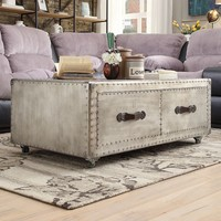 HomeVance Bernard Metal Trunk Coffee Table (Grey)