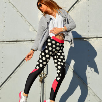Polka Dot Black White Leggings, Fuchsia Leggings, Women Leggings, Printed Pants, Workout Pants, Stretch Leggings, Yoga Pants, Gym Leggings