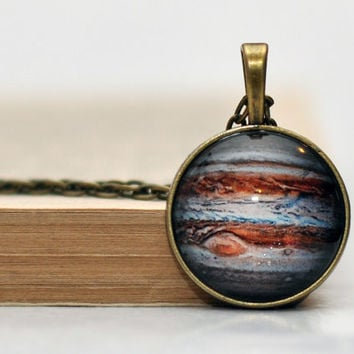 Jupiter Necklace Planet Solar System Necklace Glass Dome Resin Jewelry