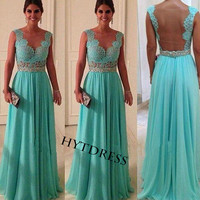 Long Turquoise Lace Prom Dresses With Beaded Sash Chiffon Backless Evening Dresses/Formal Dresses/Bridesmaid Dresses Open back