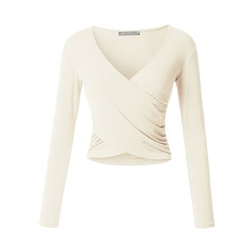 Fitted Wrap V Neck Crop Top (CLEARANCE)