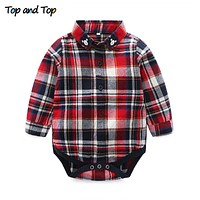 Autumn Cotton Toddler Boys Clothes Long Sleeve Plaid Baby Rompers Shirts Infant Tops born Clothes
