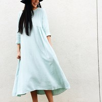 Linen Dress in Light Blue
