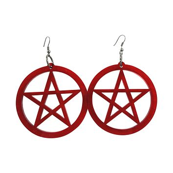 Gothic Emo Witch Wicca Oversized Red Pentagram Earrings