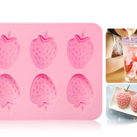 L.H.S TM14005 Creative Thermoplastic Rubber 3D Strawberry Shape Ice Cube Tray Ice Mold (Pink)
