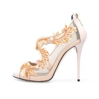 Bisque Lace-Embroidered & Patent Ambria Platform Sandals by Oscar de la Renta