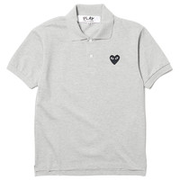 Top Dyed Cotton Pique Black Emblem Polo Gray