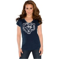 Touch by Alyssa Milano Chicago Bears Ladies Touch Field Goal V-Neck T-Shirt - Navy Blue