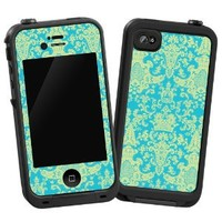 "Vintage Blue Green Damask ""Protective Decal Skin"" for LifeProof iPhone 4/4s Case"