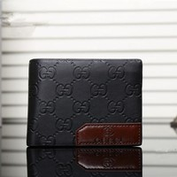 """Gucci"" Men Purse Simple Fashion Classic Letter Logo Embossed Short Section Multi-card Bit Fold Wallet"