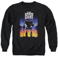 IRON GIANT/POSTER - ADULT CREWNECK SWEATSHIRT - BLACK -