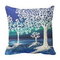 Modern with Blue sky and white Tree Throw Pillow