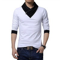 Fashion Brand Casual Men's Long T-shirt, Turn- down Collar Slim Fit Long Tee, High Quality Cotton winter t-shirt Men