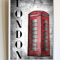 London Print Travel Poster Phone Booth Telephone Box Retro Dictionary Paper Bedroom Wall Art Decor