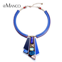 //Royal blue pendent necklace geometric pendant// crystal gold plated leather statement necklace summer jewelry 2015 eManco