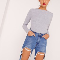 Missguided - Crew Neck Ribbed Crop Top Grey