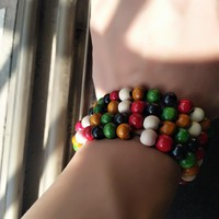 New wooden bead stretch bracelet lap small beads jewelry - Unisex
