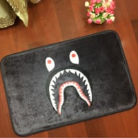 Black Cartoon Shark Bape Anti-skid Alphabet Bathroom Carpet Living Room Bedroom Mat