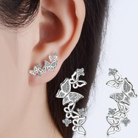 2 Color New Fashion 925 Sterling Silver Stud Earring Crystal Butterfly Earings For Women Rose Gold Jewelry