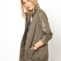 Primark Sequin Sleeve Jacket at asos.com