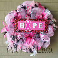 Hope Breast Cancer Awareness Pink Ribbon Mesh Wreath with Ribbons and Boa Feathers