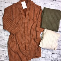 Take The Long Way Home Ribbed Open Front Cardigan With Pockets
