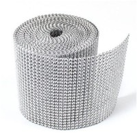 Jollylife Silver Diamond Rhinestone Ribbon Wrap Bulk 30 Feet - Wedding Decorations, Party Supplies