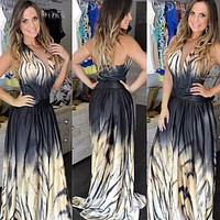 Ulamore Sexy Women Party Long Leopard Print Maxi Chiffon Floor-Length Dress = 1946277508