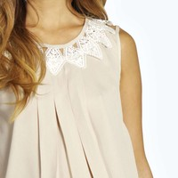 Zoe Crochet Lace Detail Pleated Sleeveless Top