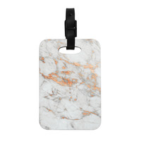 "KESS Original ""Rose Gold Flake"" White Pink Decorative Luggage Tag"