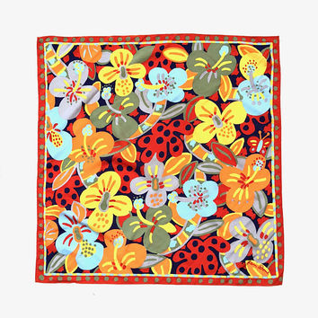 KEN DONE!!! Vintage 1980s 'Ken Done' colourful, autumn tones, floral and butterfly print square scarf with dot and dash border
