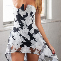 Black Floral Strapless Mini Dress
