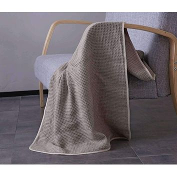 French Linen Honeycomb Light Throw Blanket in Grey or Ivory Colors in King & Queen